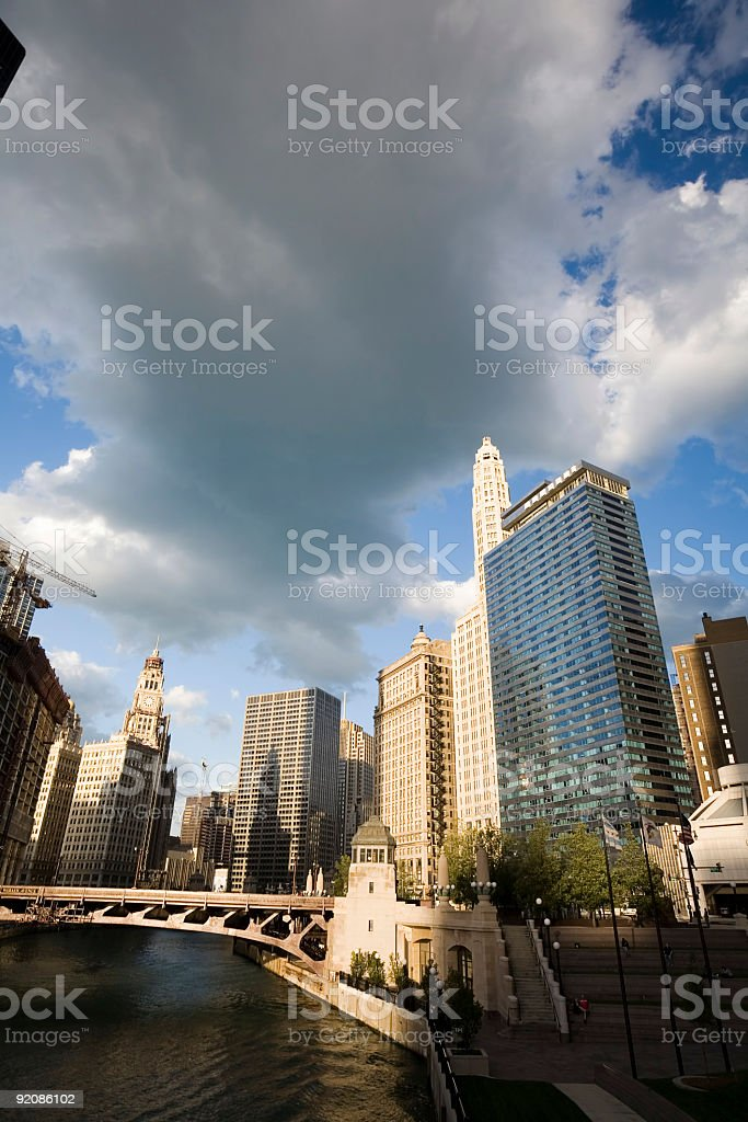 Wacker Drive Cityscape, Chicago stock photo
