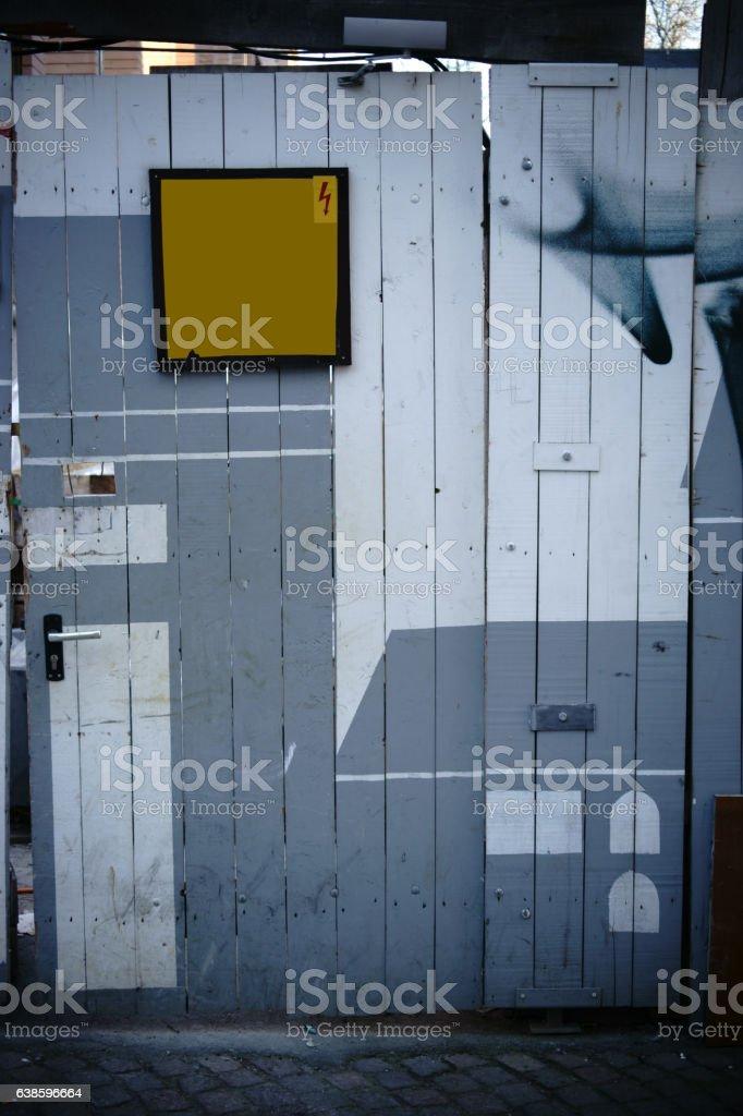 Wacky construction site door stock photo
