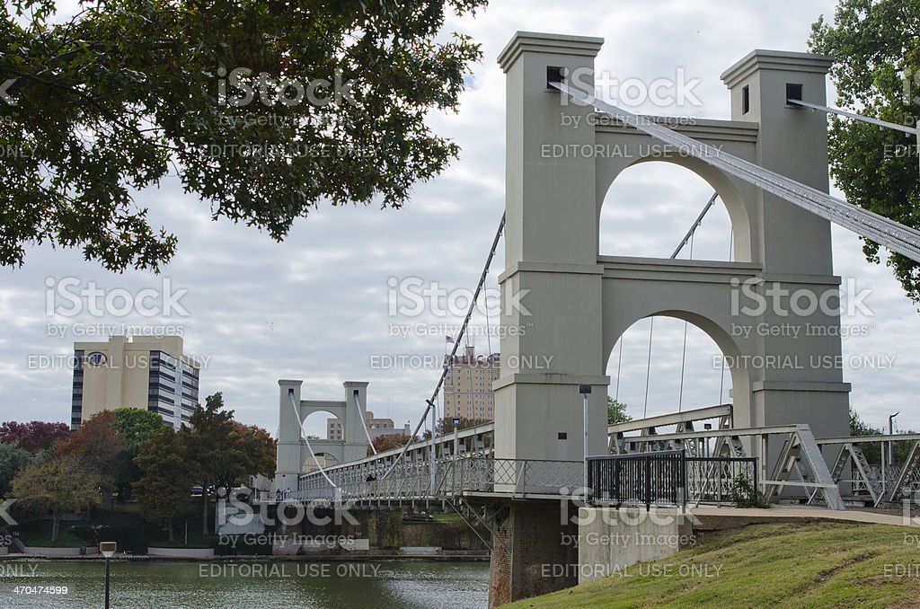Waco Suspension Bridge and Downtown Skyline stock photo