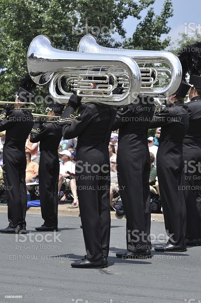 Waconia High School Marching Band Performing in a Parade stock photo