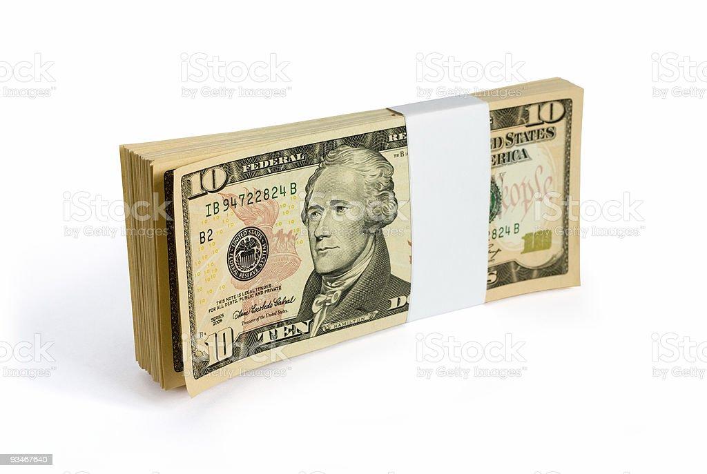Wad of 10 dollar bank notes stock photo