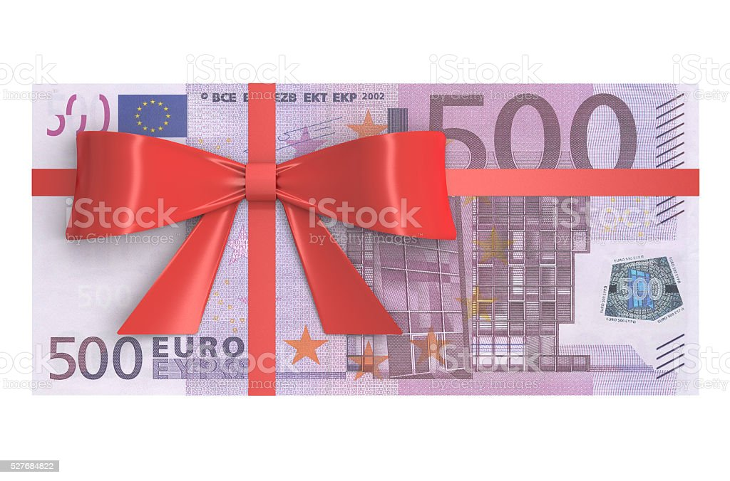 Wad of 500 Euro banknotes with red bow, gift concept stock photo