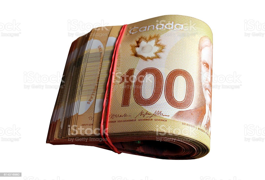 Wad of Canadian dollars stock photo