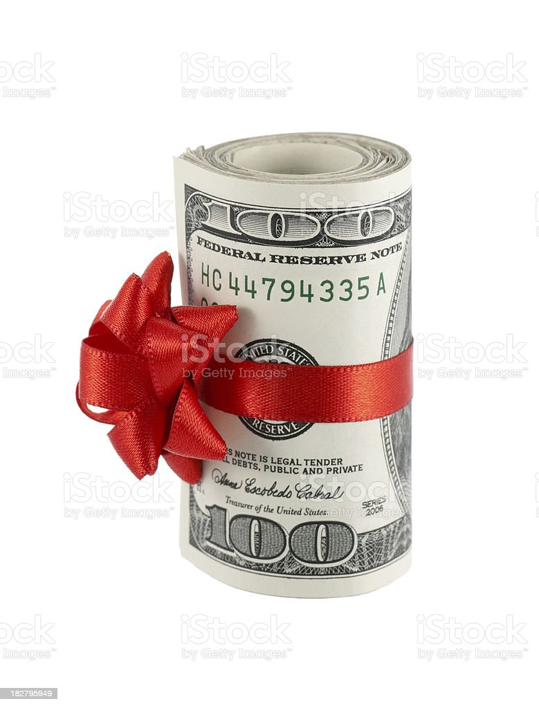 Wad of Cash with Red Bow stock photo