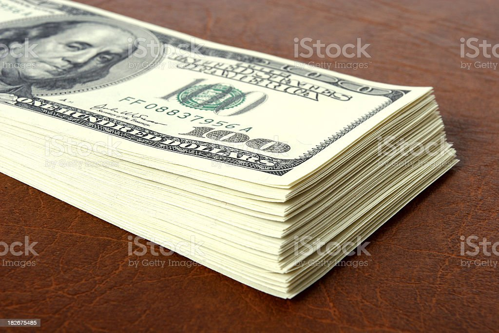 Wad of dollars close-up royalty-free stock photo