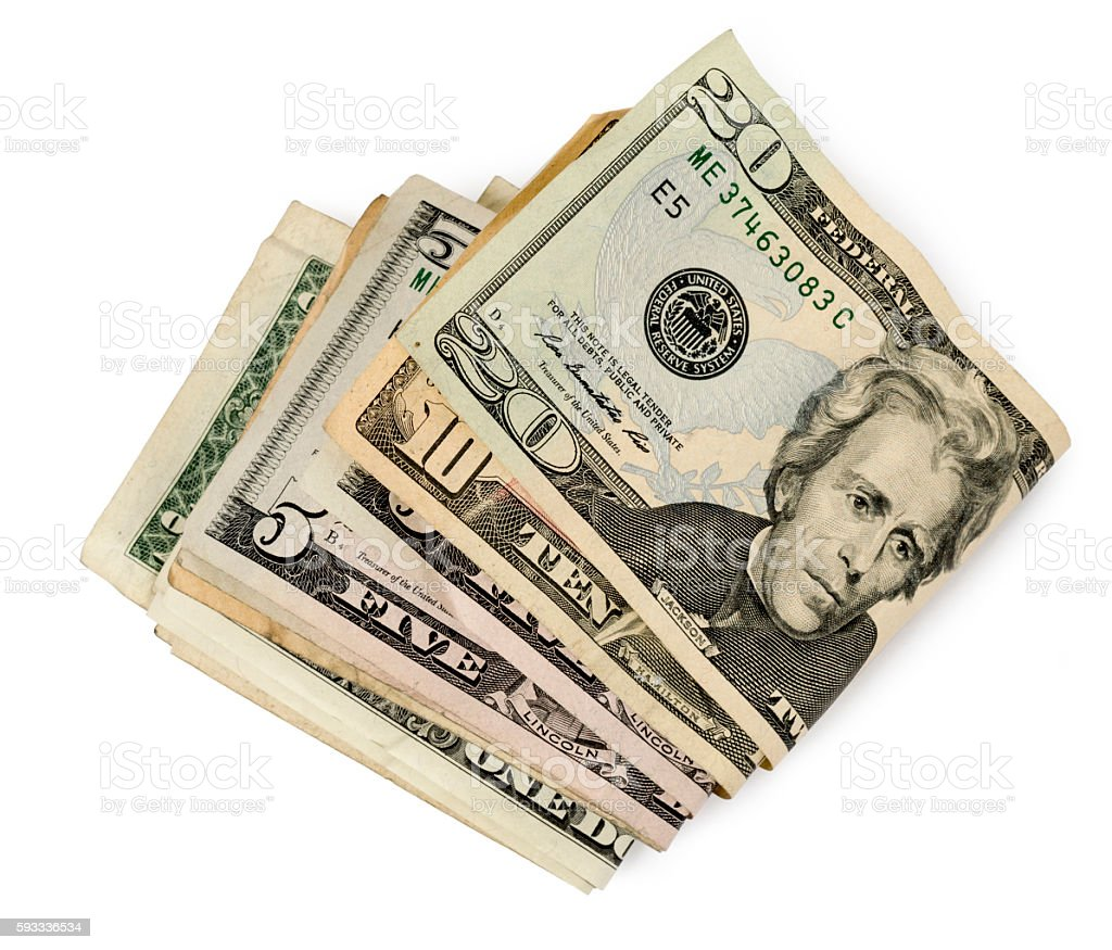 Wad Of Money With Shadow On White stock photo