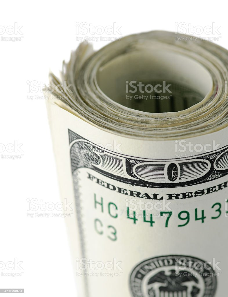 Wad of US One Hundred Dollar Bills stock photo