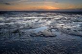 Wadden sea at dusk
