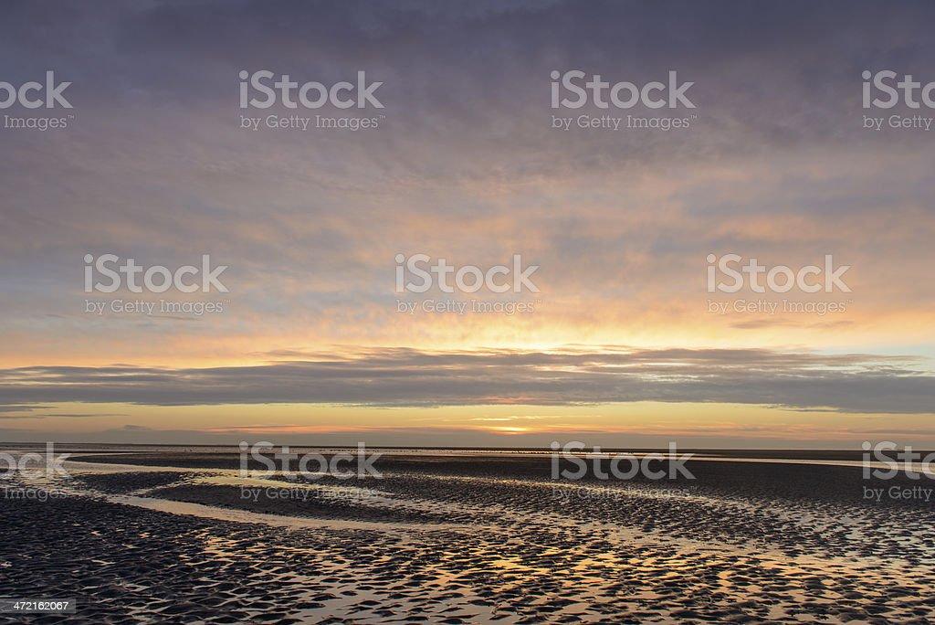 Wadden sunset stock photo