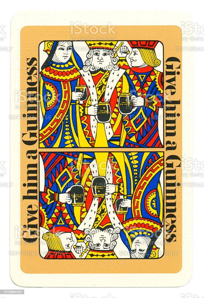 Playing card back alcohol advertising Guinness 1960s stock photo