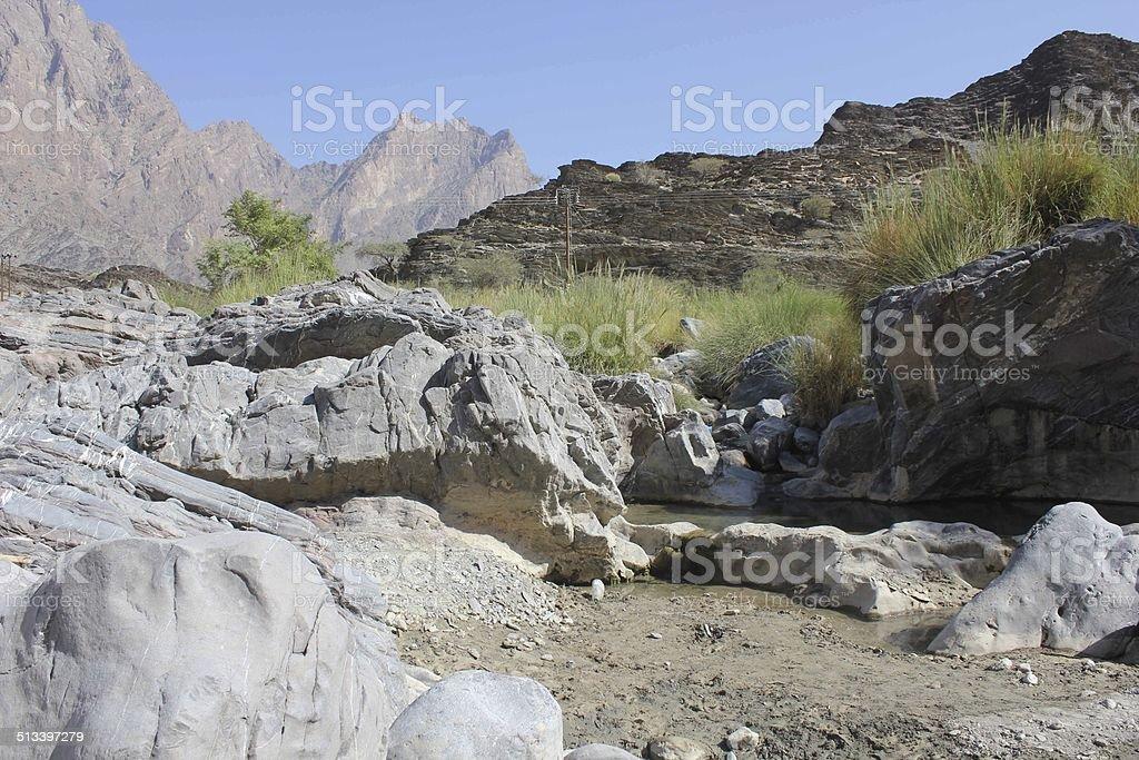 Wadi Bani Awf, Oman. stock photo