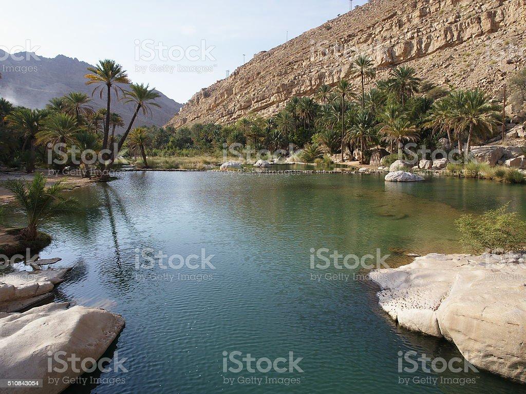 Wadi Bani Khalid stock photo