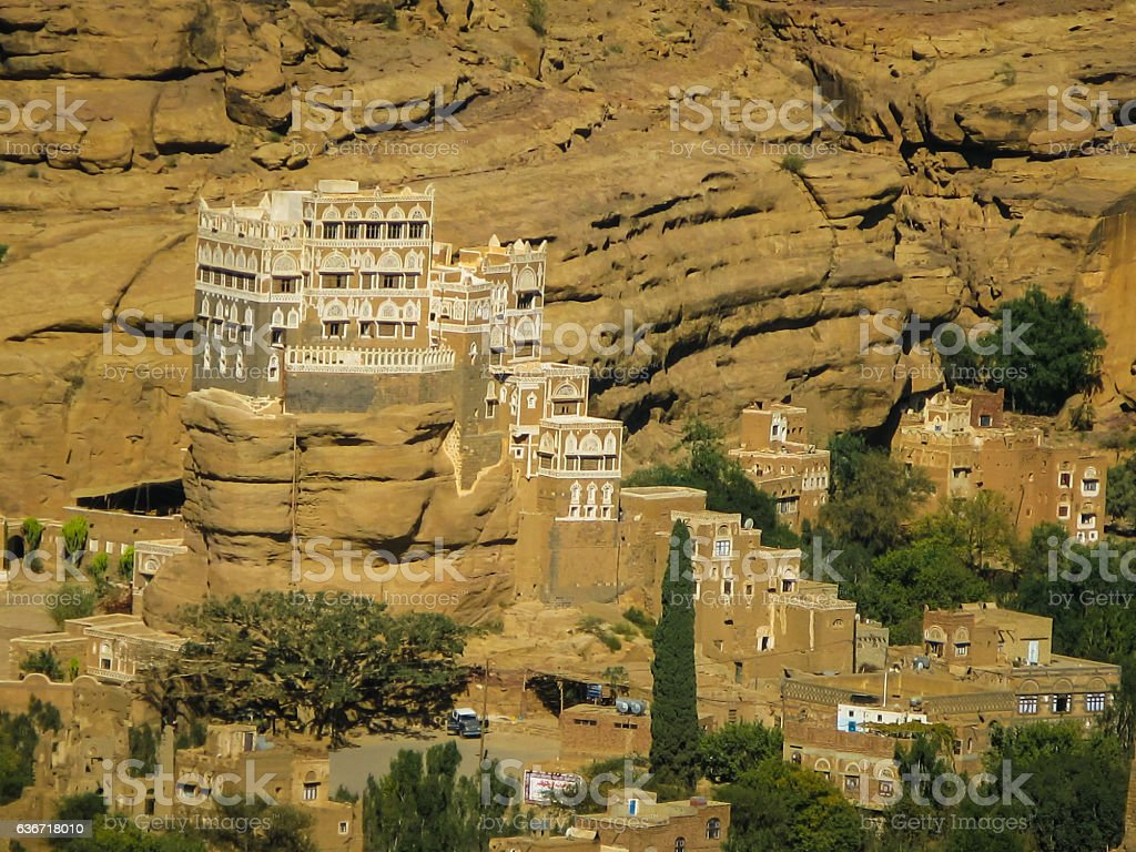 Wadi Dahr, summer residence of imam Yahya Yemen stock photo