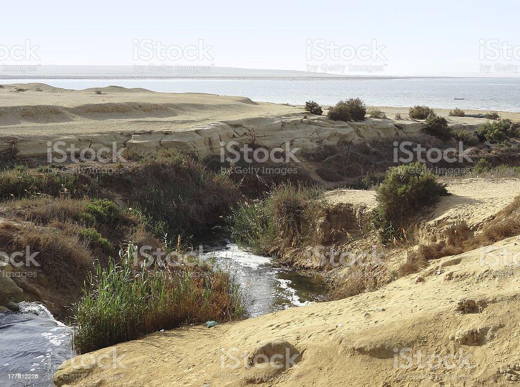Wadi Elrayan waterfalls stock photo