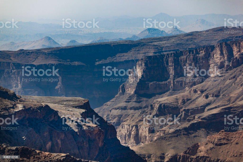 wadi ghul, grand canyon of oman. stock photo