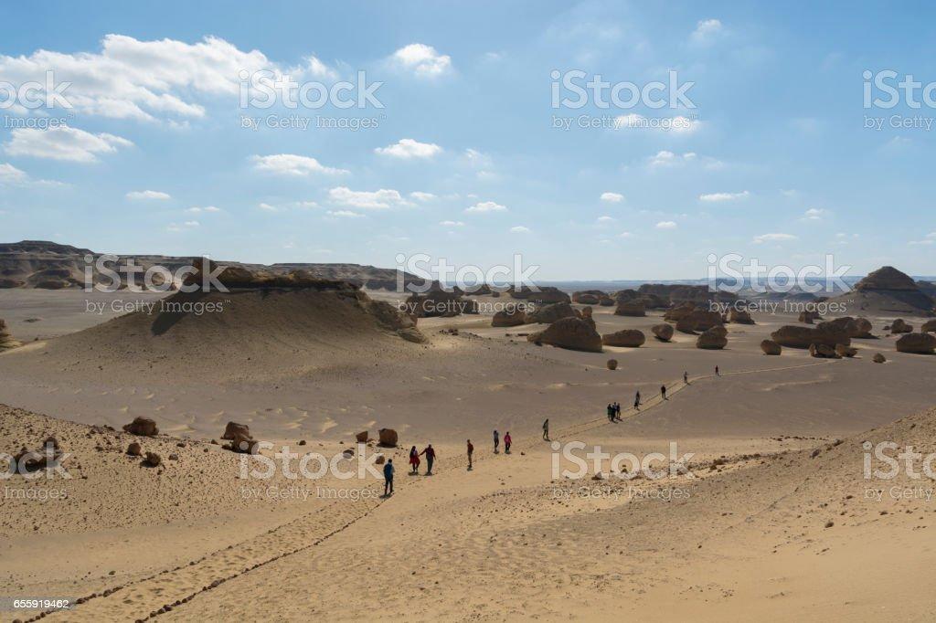 Wadi Hitan historical fosills valley in Fayoum , Egypt stock photo