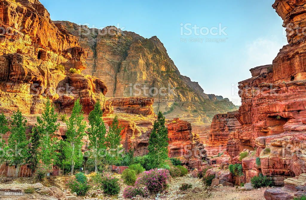 Wadi Jeihoon, the path to the Monastery El Deir in stock photo