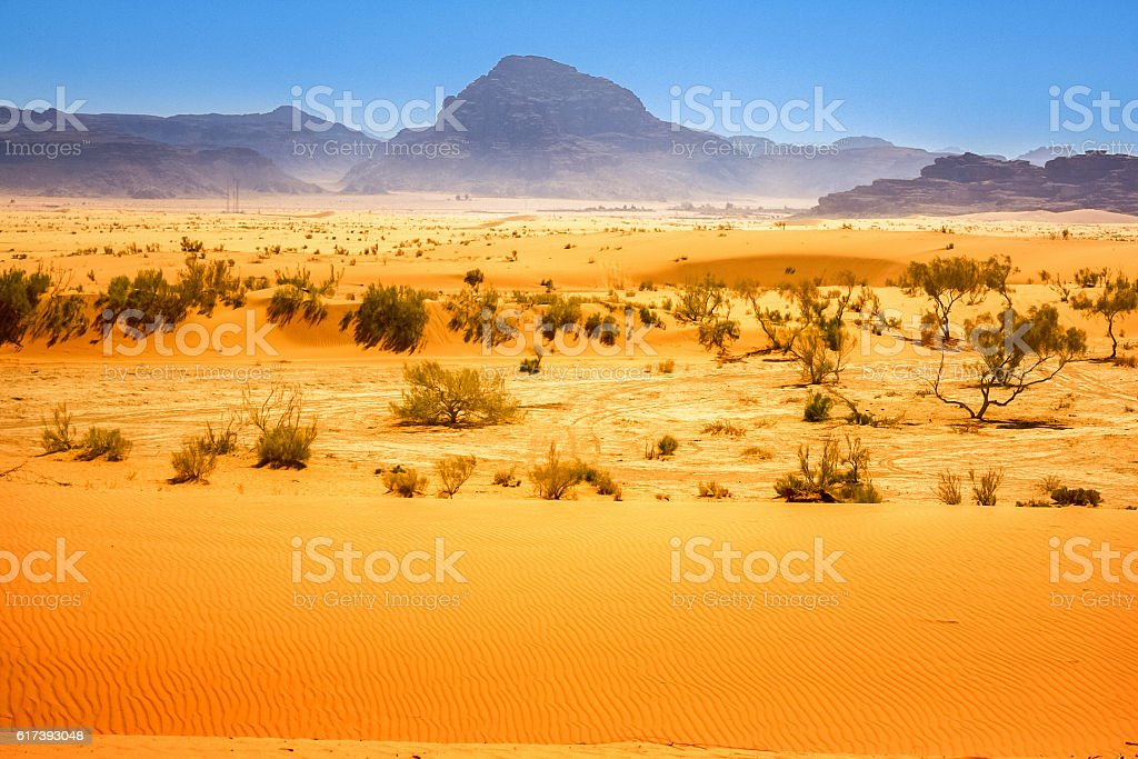 Wadi Rum Desert in Jordan stock photo