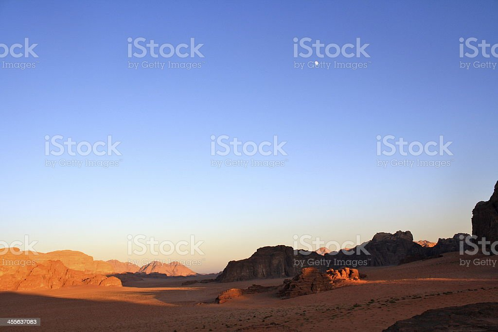 Wadi Rum Desert Moonrise royalty-free stock photo