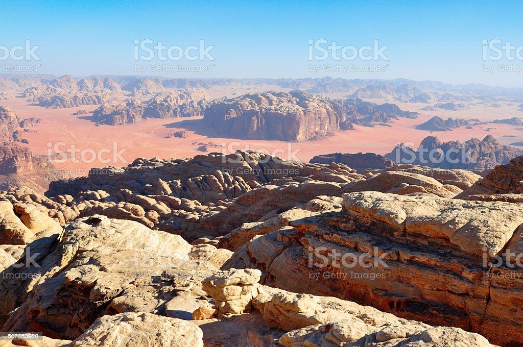 Wadi Rum desert panorama, Jordan stock photo