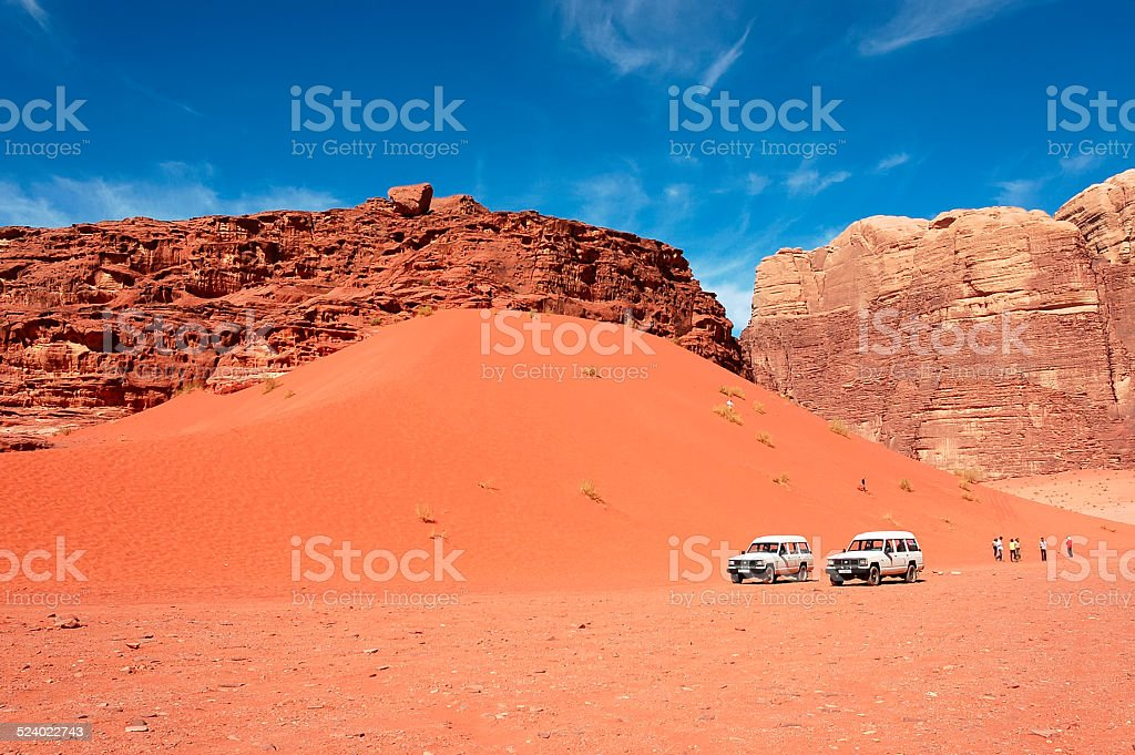 Wadi Rum dune safari, Jordan stock photo