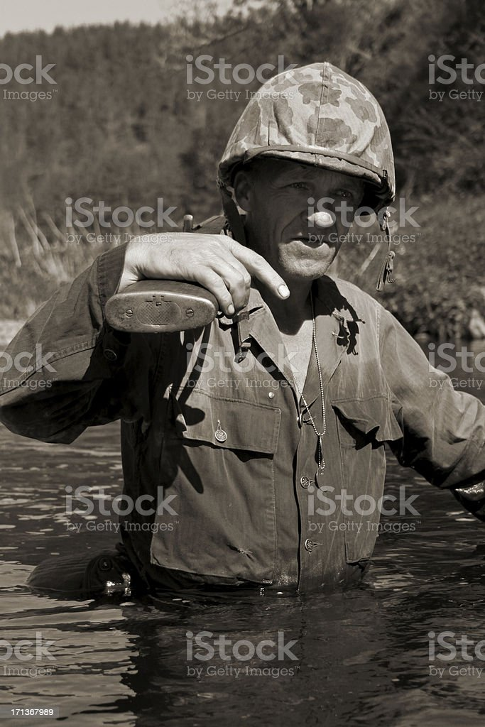 Wading Soldier. stock photo