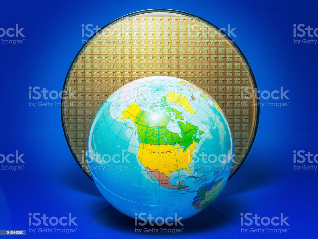 Wafer and globe – focus on America stock photo