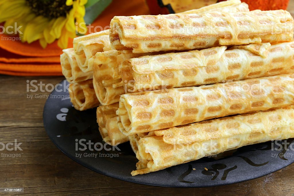 wafer rolls, dessert for Halloween holiday royalty-free stock photo