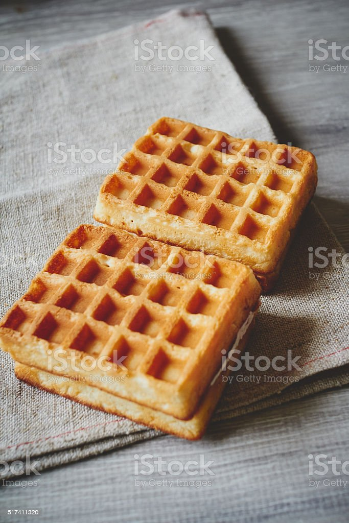 Wafers on the cloth napkin stock photo