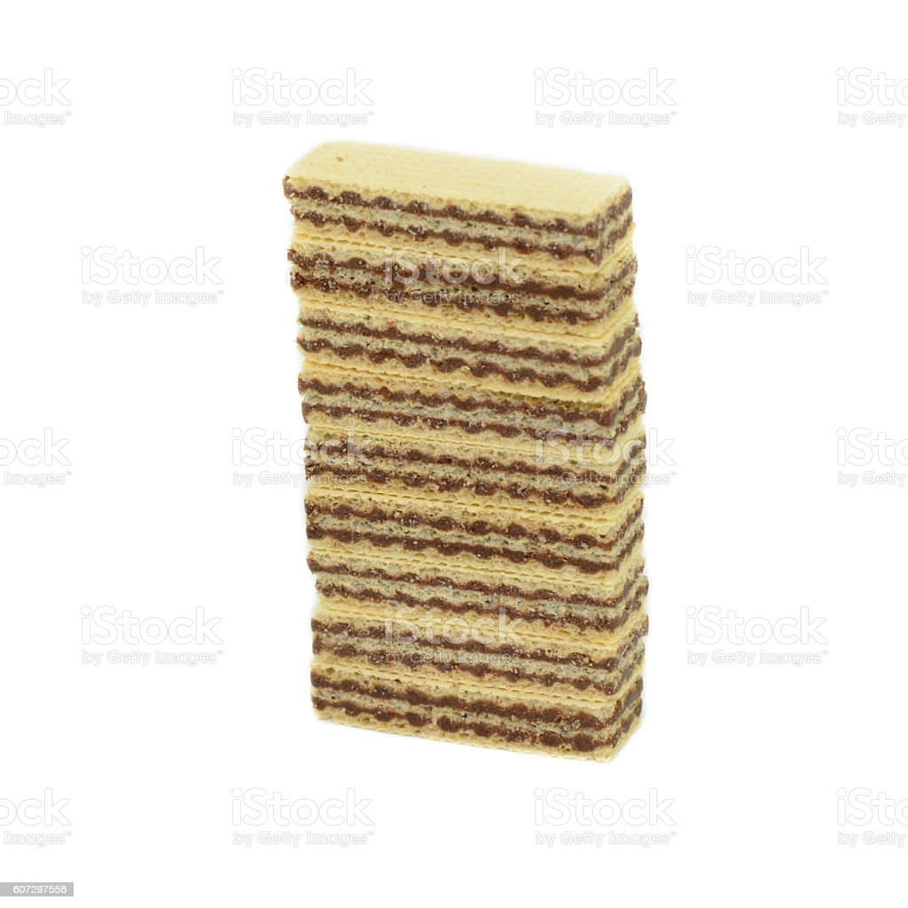 Wafers with chocolate isolated on white background stock photo