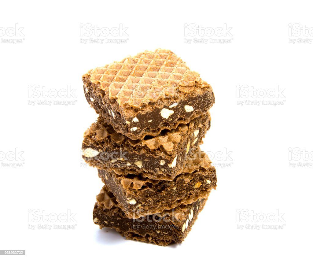 Wafers with chocolate on a white background stock photo