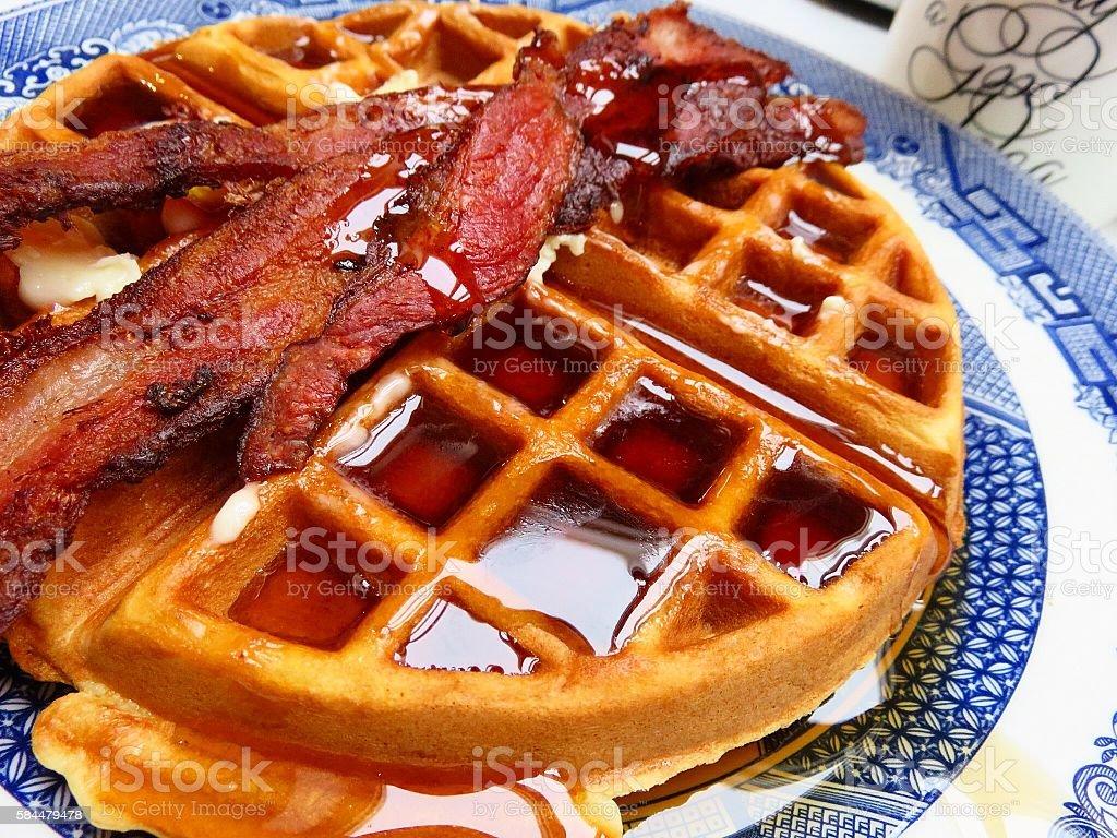 Waffle and Bacon stock photo