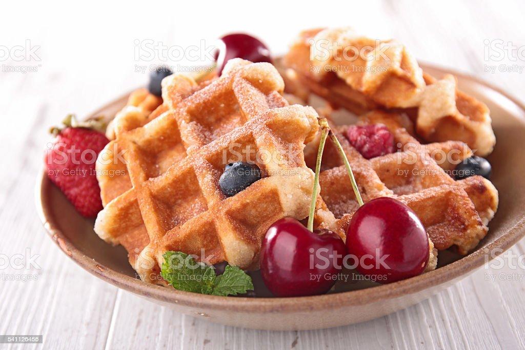 waffle and cherry fruit stock photo