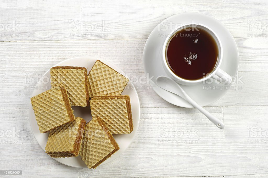 Waffle and cup of tea stock photo