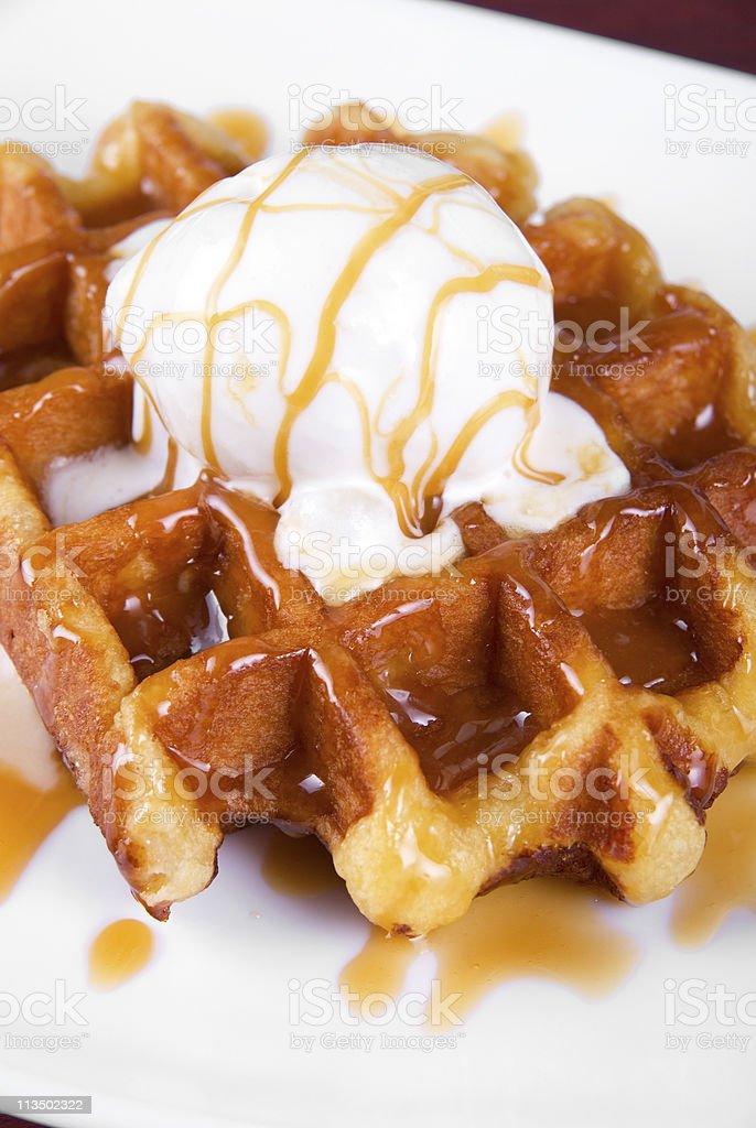 Waffle and ice cream royalty-free stock photo