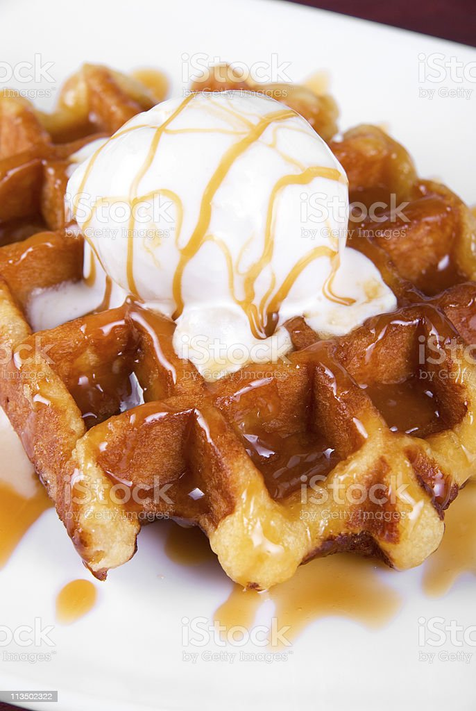 Waffle and ice cream stock photo