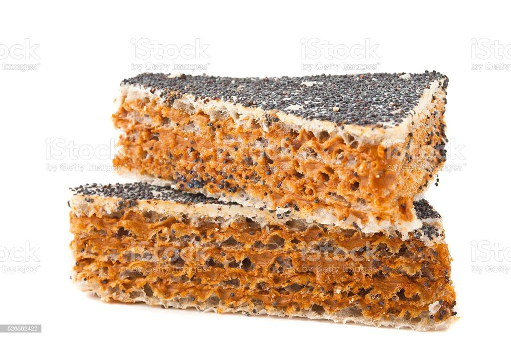 waffle cake isolated stock photo