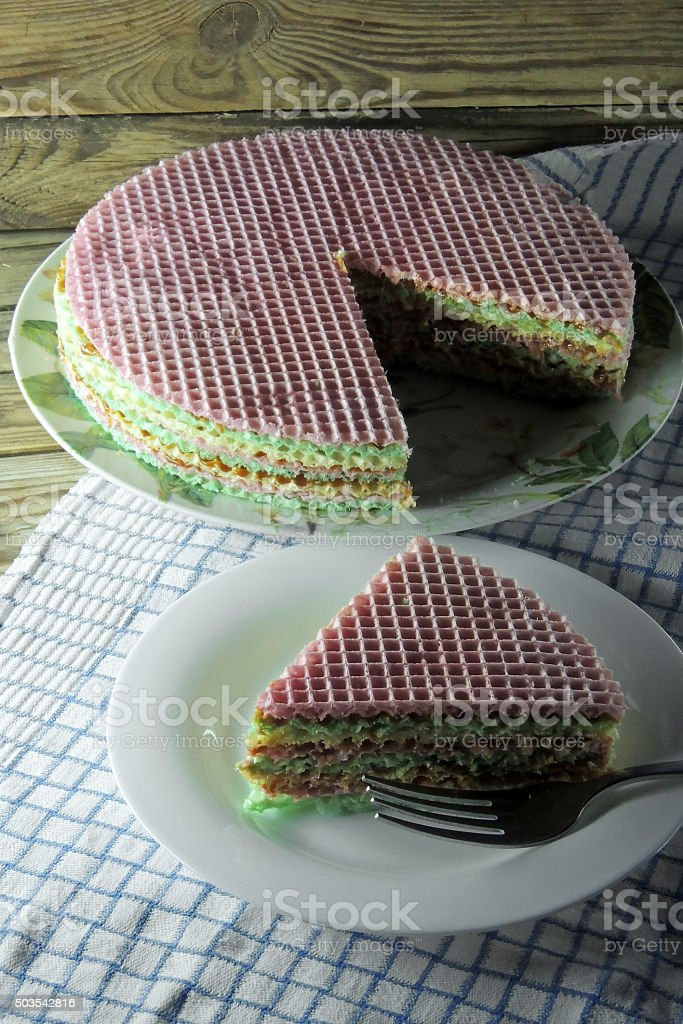 waffle cake with condensed milk stock photo