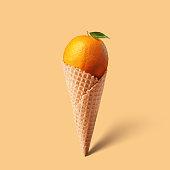 Waffle cornet with orange