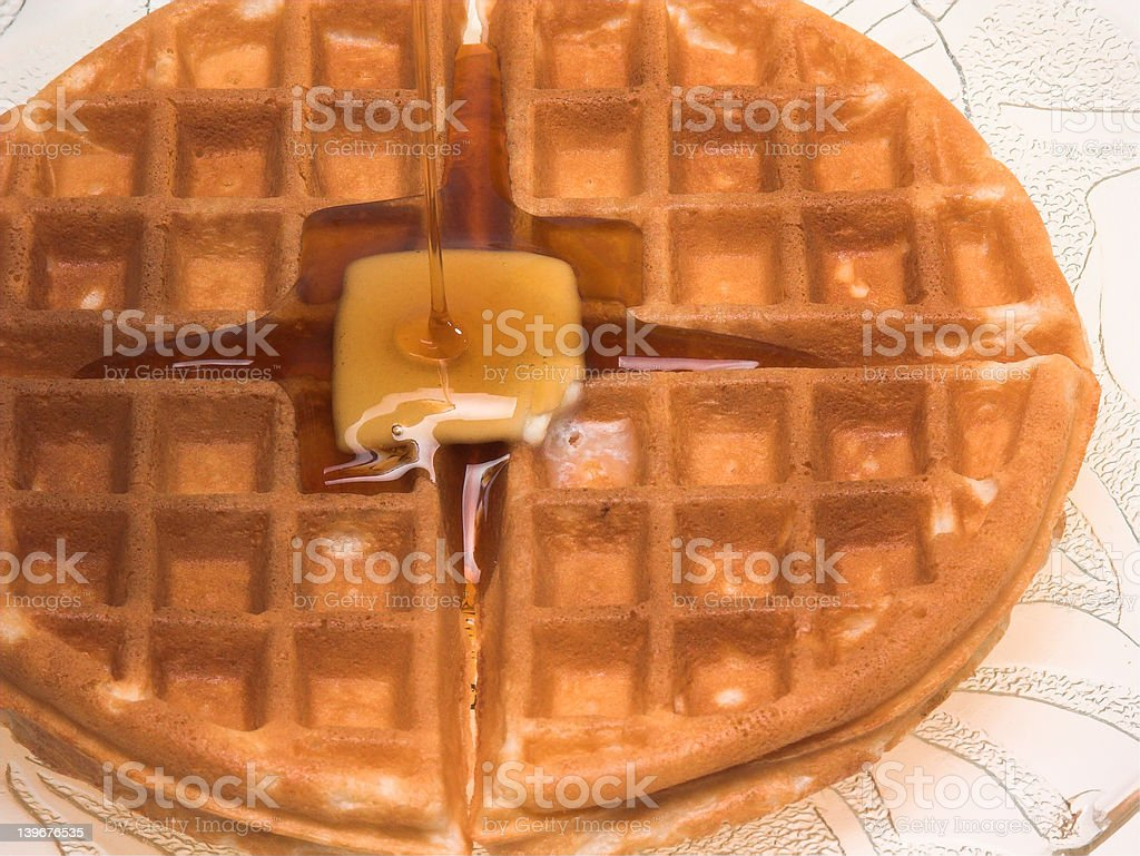 Waffle Covered with Syrup royalty-free stock photo