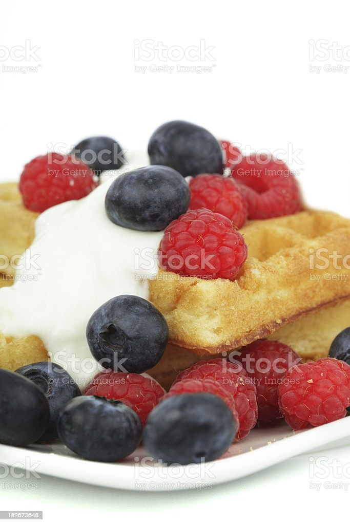 Waffle Stack with Blueberries and Raspberries royalty-free stock photo