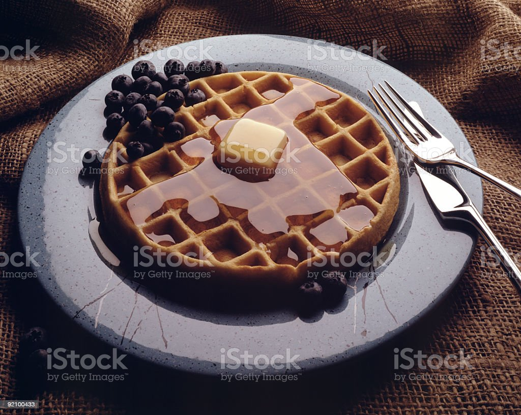 Waffle with Blueberries stock photo