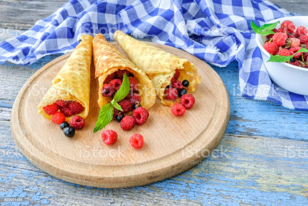 Waffle with fresh berries. Healthy food concept stock photo