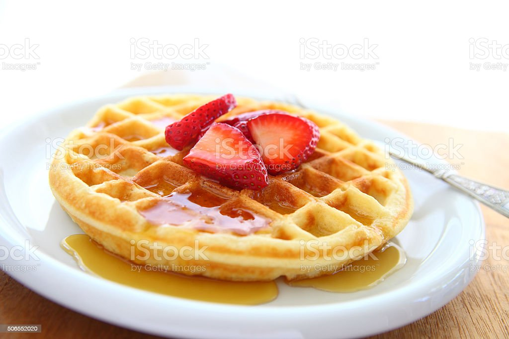 Waffle with strawberries and copy space stock photo