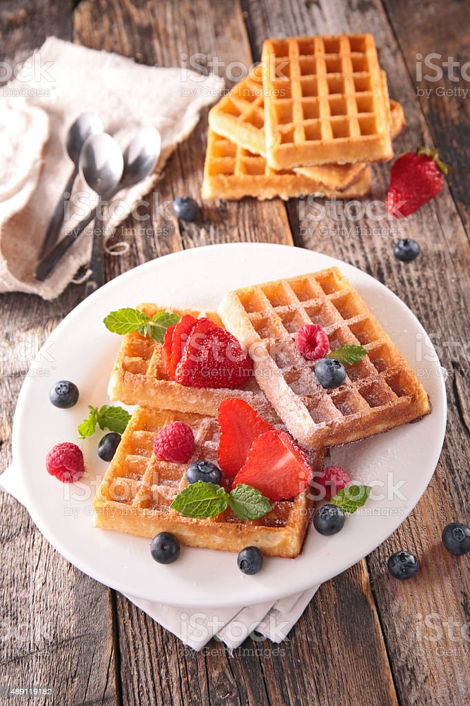 waffles and berry fruit stock photo