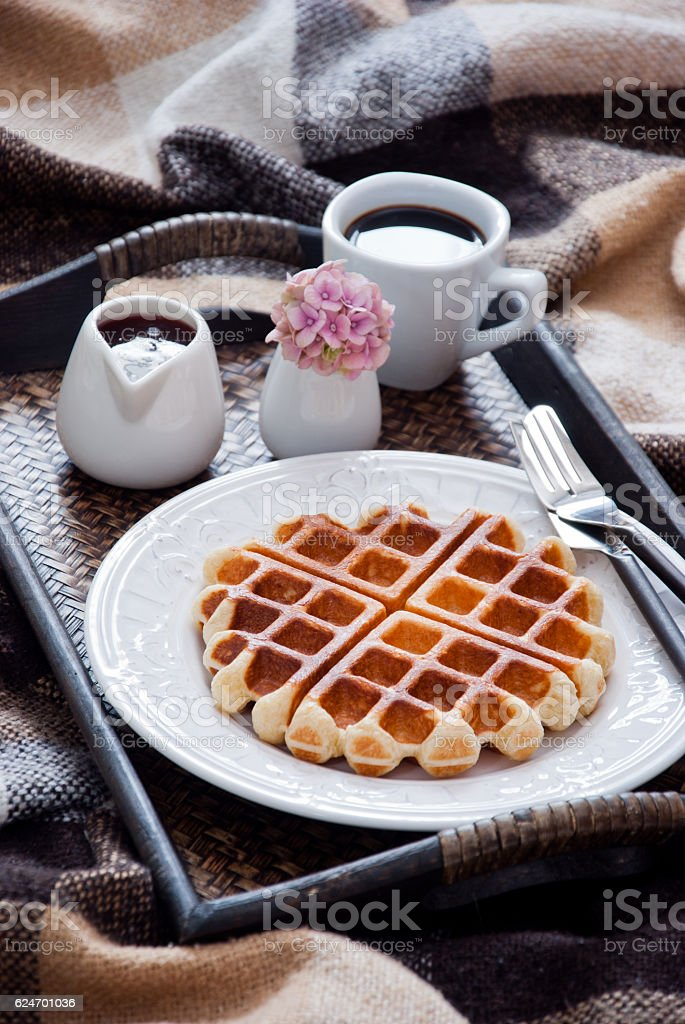 Waffles and coffee for breakfast stock photo