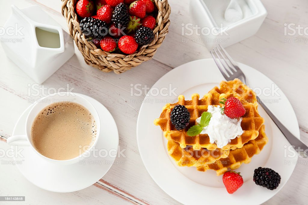 Waffles and Coffee royalty-free stock photo