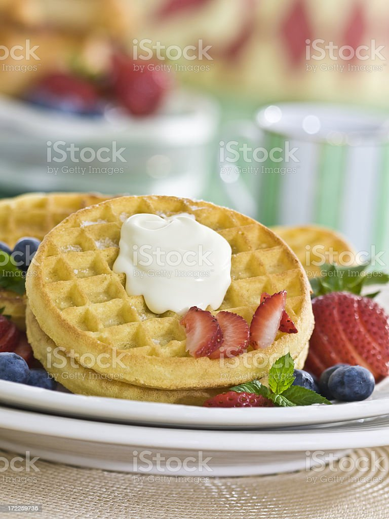 gaufres et creme royalty-free stock photo