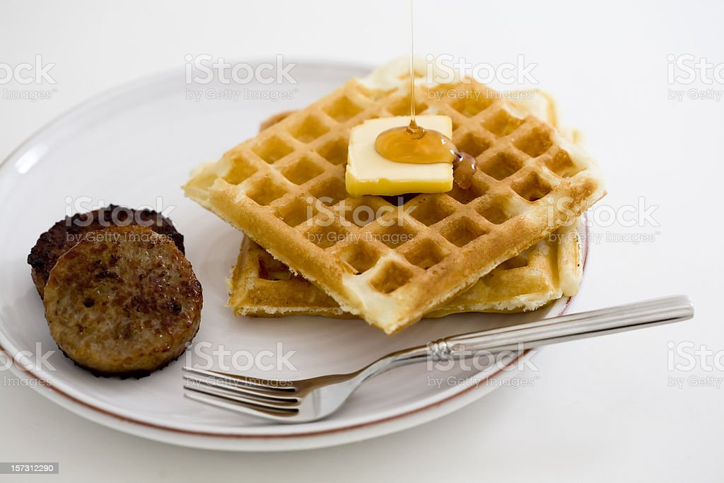 Waffles and Sausage for Breakfast royalty-free stock photo