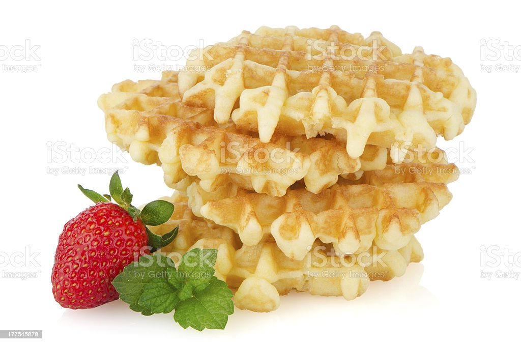 Waffles and strawberry royalty-free stock photo